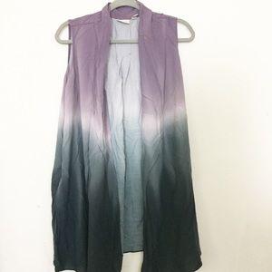LOGO By Lori Goldstein Cascade Front Tie-Dye Vest